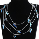 Fashion Long Style Natural Black Pearl Opal Stone Chips Necklace (Sweater Chain)
