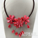 Watermelon Red Pearl Shell Flower Necklace with Black Cord