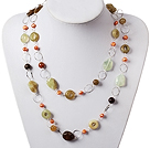 Long Style Pearl and Three Colored Jade Necklace with Metal Chain
