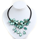 Blue Green Pearl Shell Flower Necklace with Black Cord