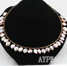 Dark Pink Coin Pearl Necklace with Yellow Metal Chain