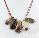 Simple Design Drop Shape Ocean Agate Necklace