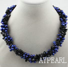 Wholesale Multi Strands Dyed Dark Blue Freshwater Pearl and Black Agate Necklace