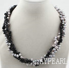 Multi Strands Dyed Gray Freshwater Pearl and Black Agate Necklace