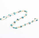 Wholesale Simple Design Pearl and Rose Quartz and Colored Glaze Necklace with Metal Chain