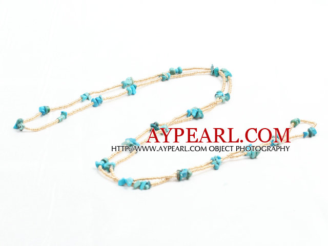 Fashion Long Style Turquoise Chips Gold Color Glass Beads Necklace