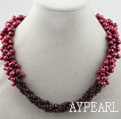 Wholesale Multi Strands Dyed Wine Red Freshwater Pearl and Garnet Necklace