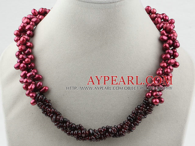 Multi Strands Dyed Wine Red Freshwater Pearl and Garnet Necklace