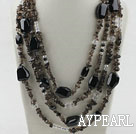 Multi Strands Smoky Quartz and Black Agate Necklace