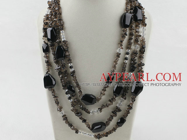 Multi Strands Smoky Quartz og Black Agate kjede