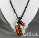 fashion double strand black agate and multi color stone necklace