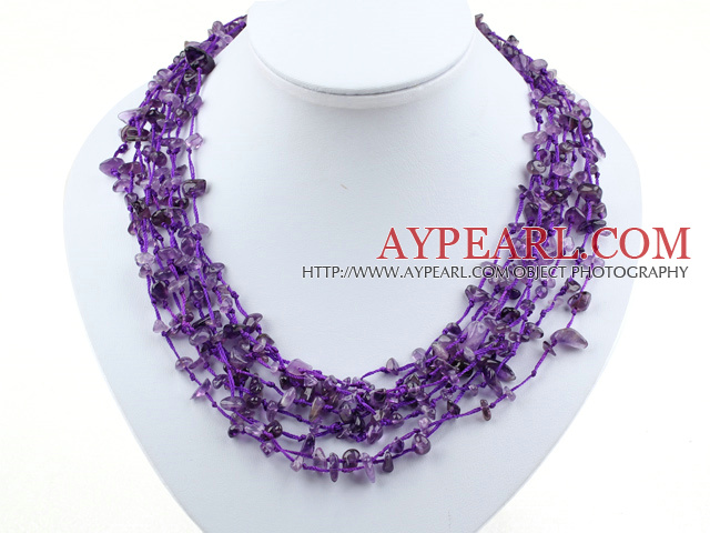 multi strand amethyst necklace with shell flower clasp
