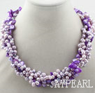 Wholesale Multi Strands Purple Freshwater Pearl and Purple Shell Necklace