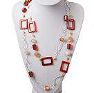 Long Style Pearl and Agate Necklace