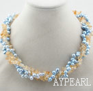 Multi Strands Dyed Blue Freshwater Pearl and Critine Necklace