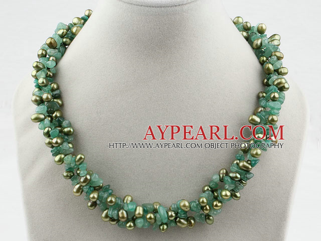 Multi Strands Dyed Green Freshwater Pearl and Aventurine Necklace