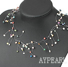 Wholesale fancy multi color pearl necklace with lobster clasp