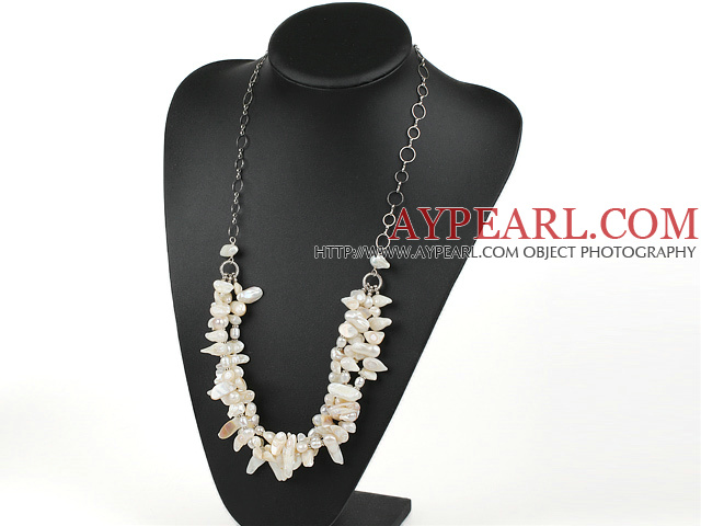 fashion teeth pearl necklace with metal loops
