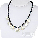 Wholesale black pearl and white lip shell necklace with lobster clasp
