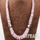 Single Strand Rose Quartz Disc Chips Graduated Necklace with Lobster Clasp