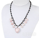 Wholesale black pearl and rose quartze necklace with lobster clasp