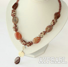 Wholesale crytal and agate necklace with toggle clasp