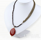 Simple Style Red Jasper Pendant Necklace