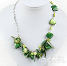 Wholesale dyed green shell necklace with extendable chain