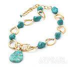 New Design Irregular Shape Turquoise and Golden Color Metal Chain Necklace