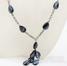 Drop Shape Blue Black Shell Necklace with Metal Chain
