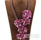 Big stil Hot Pink Shell Flower og Crystal partiet Necklace