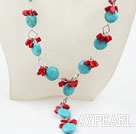 Wholesale Y Style Turquoise and Red Coral Necklace with Lobster Clasp