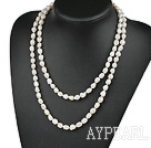 long style  white pearl necklace