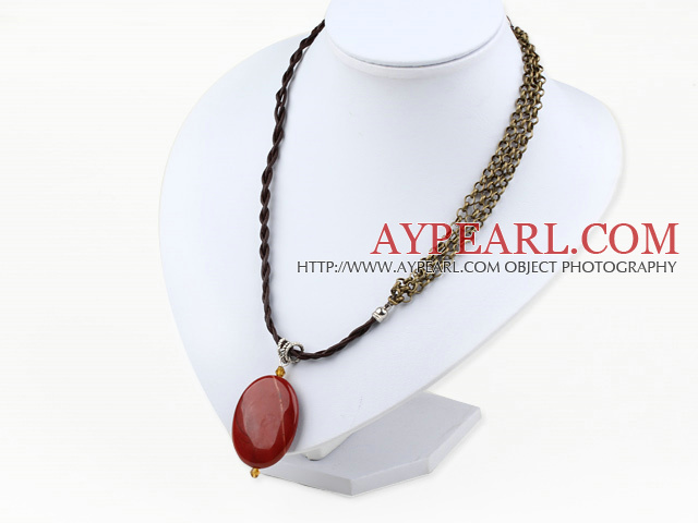 Beauitufl Simple Style Oval Red Jasper Pendant Necklace With Multi Strand Copper Chain