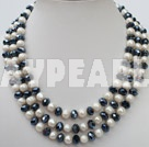 Wholesale 3 strand 8-10 white pearl and crystal necklace with lip shell clasp