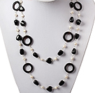 Wholesale three strand white pearl necklace with shell clasp