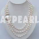 Wholesale three strand white pearl necklace