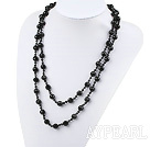 fashion long style black crystal and agate necklace 