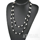 Wholesale fashion long style white pearl and black crystal necklace