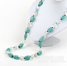white crystal turquoise necklace with moonlight clasp