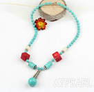 Wholesale turquoise and coral necklace with lobster clasp