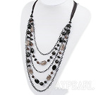 Wholesale fashion crystal and balck agate necklace