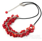 white pearl and red coral necklace with extendable chain