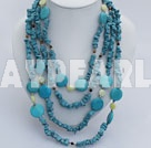 multi strand tiger eye turquoise and lemon jade necklace