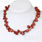 Fashion 8-14Mm Red Drop Shape Marble Stone Beaded Strand Necklace With Inserted Closure