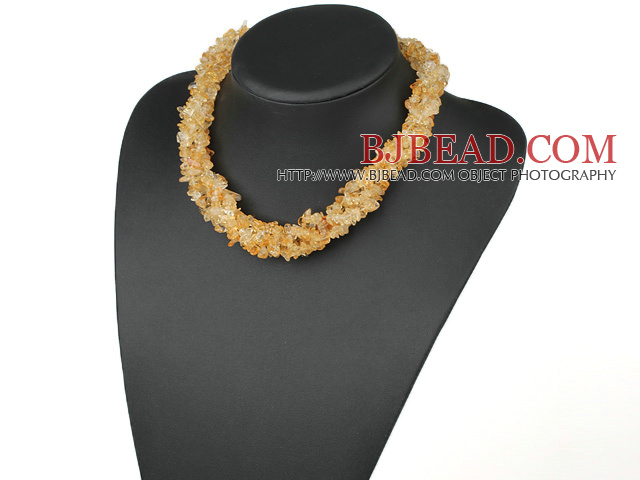 Classic Long Style Multi Strand 6Mm Citrine Chips Strands Necklace, Sweater Necklace