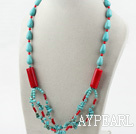 turquoise and coral necklace with toggle clasp