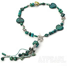 Nice Green Series Coin Freshwater Pearl And Multi Phoenix Stone Threaded Pendant Necklace