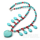 Wholesale fashion turquoise and blood stone necklace
