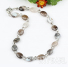 Wholesale crystal and gray agate necklace with spring ring clasp